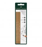 """Набор угольных карандашей Faber-Castell """"Pitt"""", 3шт., мягкий/средний/твердый, блистер"""
