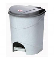 Ведро мусорное 11 л с педалью и внутренним контейнером пластиковое серое