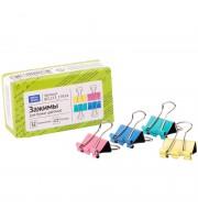 Зажимы для бумаг 15мм, OfficeSpace, 12шт., цветные, картонная коробка