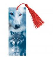 """Закладка для книг 3D с линейкой, 150*55мм, ArtSpace """"Волк"""", декоративный шнурок"""