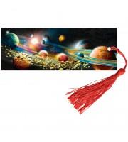 """Закладка для книг 3D с линейкой, 150*55мм, ArtSpace """"Космос"""", декоративный шнурок"""